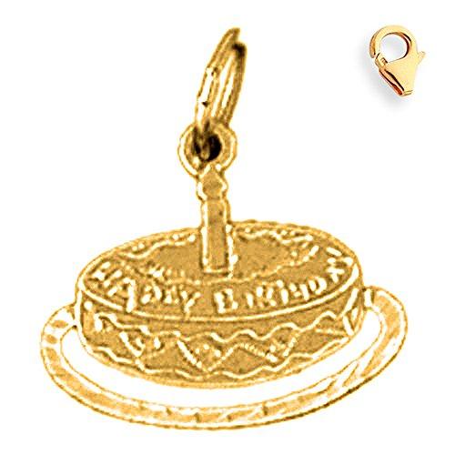 Birthday Cake 14k Gold Charm - Jewels Obsession Birthday Cake Pendant   14K Yellow Gold Birthday Cake Charm Pendant - 17mm