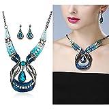 Gbell Clearance! Fine Blue Purple Enamel Necklace Earrings Women Jewelry Sets Statement - Crystal Waterdrop Earrings & Necklace Set Fashion for Teen Girls Ladies (Blue)