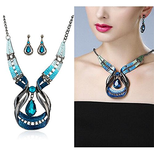 Gbell Clearance! Fine Blue Purple Enamel Necklace Earrings Women Jewelry Sets Statement - Crystal Waterdrop Earrings & Necklace Set Fashion for Teen Girls Ladies -