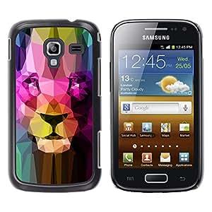 Qstar Arte & diseño plástico duro Fundas Cover Cubre Hard Case Cover para Samsung Galaxy Ace 2 I8160 / Ace2 II XS7560M ( Lion Face Structure Art Portrait Big Cat Colorful)