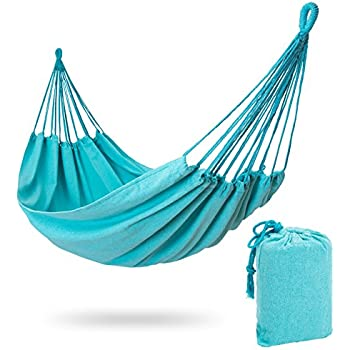 brazilian hammock   double hammock for porch backyard indoor  u0026 outdoors   extremely  fortable woven cotton fabric  sky blue  amazon     hammock sky brazilian double hammock   two person bed      rh   amazon