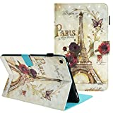 PC Hardware : Folio Case for All-New Amazon Fire 8 Tablet 7th Generation 2017 Release, ZAOX Paris Tower Slim Folding Flip Leather Stand Smart Cover with Card Slots Case for Fire Kindle Fire HD 8 Inch 6th Gen 2016