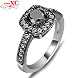AYT Wedding Finger Rings Hot Sale Fine Jewelry Women/Men Fashion Black Sapphire AAA Zircon anel Black Filled Ring Sz6-10 7.0