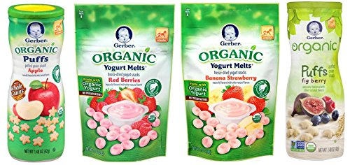 Gerber Organic Healthy Baby Food Bundle - Veggie Puffs and Yogurt Melts by Narrow Path Sales