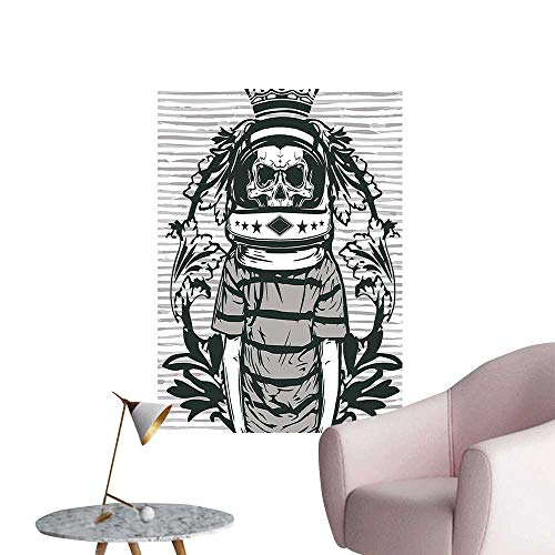 "Wall Decoration Wall Stickers Skull Astr AUT Man Helmet and Flowers Black and White Print Artwork,24""W x 40""L"