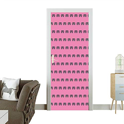 Door Sticker WallpaperVintage House Club Party 70s 80s Inspired Fancy Singer Sun Glasses Image Pink Fashion and Various patternW23.6 x H78.7 INCH