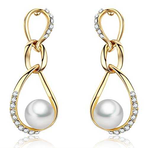 SBLING 18K Gold Plated Round White Shell Pearl with Cubic Zirconia Dangle Drop Earrings(10mm)