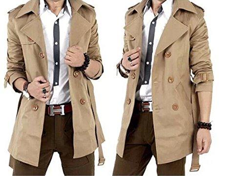 BININBOX® Herren fashionable zweireihigen Anzug slim fit Jacke Mantel mit Gürtel  Outwear aus Baumwolle: Amazon.de: Bekleidung