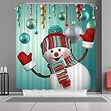 VANCAR Waterproof Bathroom Decor Custom Xmas Merry Christmas Shower Curtain Sets with Hooks 66'X72' 3D Snowman Christmas Ornaments Ball Green Pattern Print