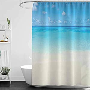"Ocean Cloth Shower Curtain Paradise Beach in Tropical Caribbean Sea with Fantastic Sky View Calm Beach House Theme Water Repellent Durable Bathroom Decor Cream Navy 72"" x 84"""