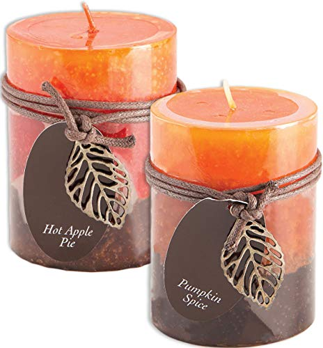 Fall Scented Candles Set Bundle of 2 Decorative Layered Pillar Candles 3 x 4 Inches (Hot Apple and Pumpkin Spice) ()