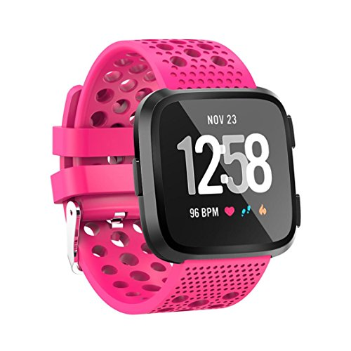 2018 Fitbit Versa Band,Sunfei Soft Silicagel Sports Watch Band with Metal Buckle Perforated Band Strap for Fitbit Versa, Small (Hot Pink)