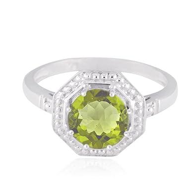 fe01fc20abb9 piedras preciosas redondas anillo de peridoto facetado redondo - peridoto  verde plata macizo anillo de piedras