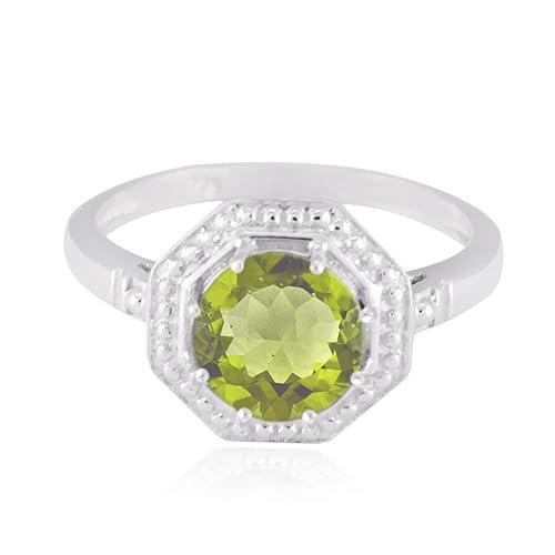 piedras preciosas redondas anillo de peridoto facetado redondo - peridoto verde plata macizo anillo de piedras