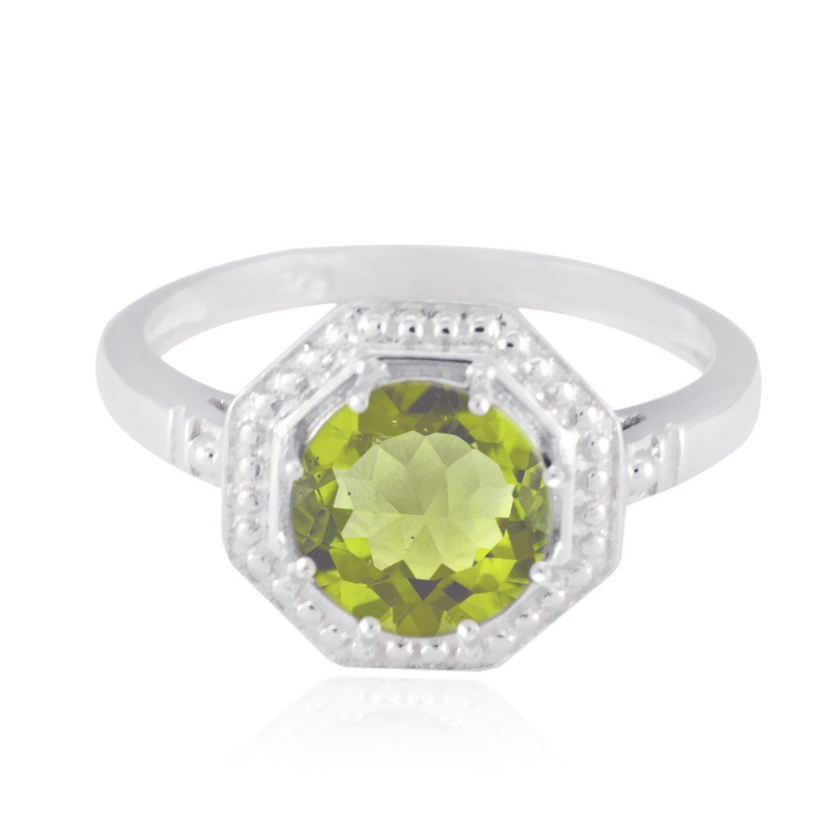 Good Gemstones Round Faceted Peridots Ring - Solid Silber Green Peridots Good Gemstones Ring - Handmade Jewelry Great Selling Shops Gift for Black Friday Birthstone Ring -US 11.75