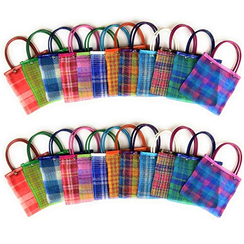 "Mini Mexican Tote Favor Bags (Mexican Candy Bags - Mexican Mercado Bags - Mexican Mesh Bags - Bolsas Para Fiestas) - 8"" x 7"" (24 count)"