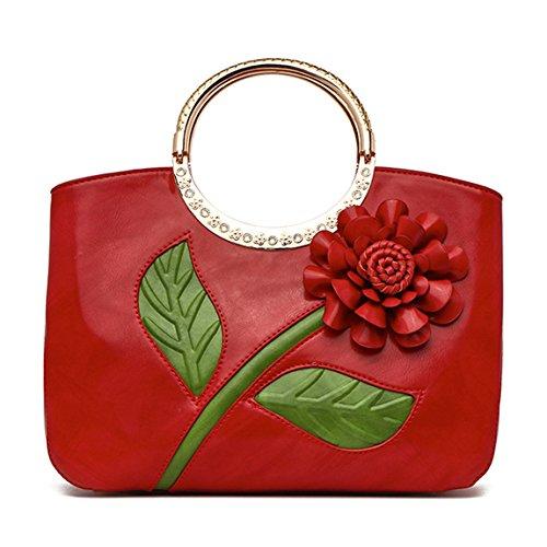 Bolso Señora Fiesta boda Las Del Ankoee La Señoras Flor fiesta De Rojo Diseño 6xnOFdw1q