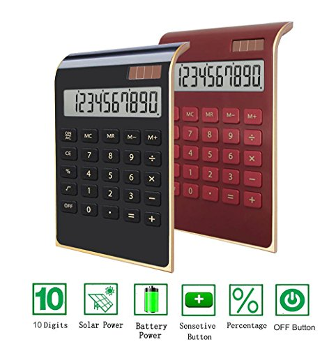 Office Calculator,BESTWYA 12-Digit Dual Power Business Handheld Desktop Calculator for Office Student (New Black & Red, Pack of 2) by BESTWYA
