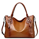 S-ZONE Women's Vintage Genuine Leather Tote Large Shoulder Bag Upgraded Version with Zipper Pocket Outside (Medium-Brown)