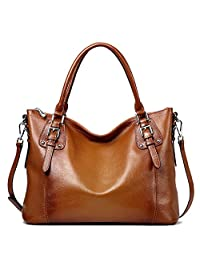 S-ZONE Women's Vintage Genuine Leather Tote Large Shoulder Bag Handbag Cross Body Bag