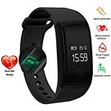 ONSTON Smart Watch Bracelet Waterproof IP67 Fitness Tracker with Heart Rate Monitor Blood Pressure Blood Oxygen Monitor Compatible with IOS Andriod Smartphones (Black)