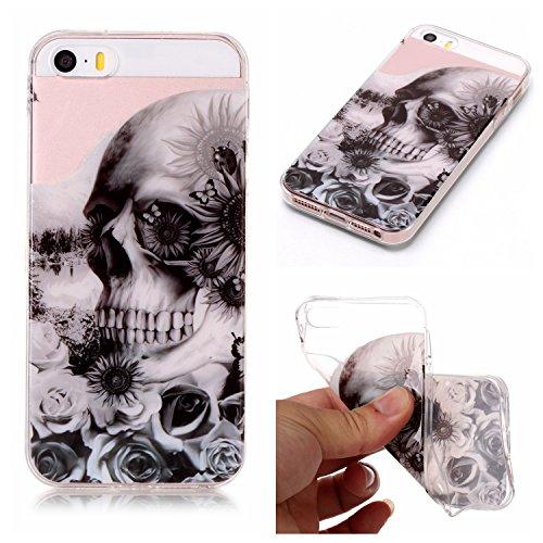 iPhone 5 5S SE Hülle, Modisch Schädel Transparent TPU Silikon Schutz Handy Hülle Handytasche HandyHülle Etui Schale Schutzhülle Case Cover für Apple iPhone 5 5S SE