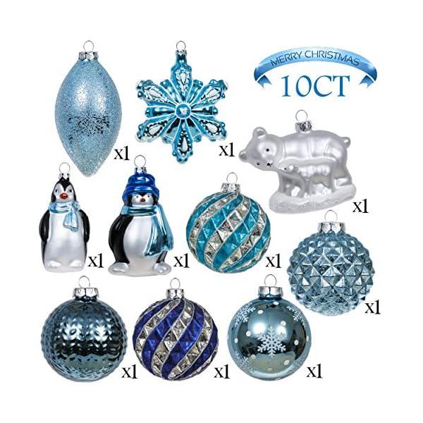 Valery Madelyn Palle di Natale Vetro Addobbi Natalizi Set, 10 Pezzi 8-12cm White And Blue Palline di Natale Decoration for Addobbi Natalizi per Albero 3 spesavip