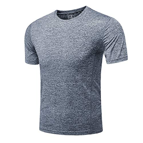 (YKARITIANNA Men's Summer Casual O-Neck T-Shirt Fitness Sport Fast-Dry Breathable Top Blouse)
