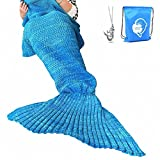 LAGHCAT Mermaid Tail Blanket Crochet Mermaid Blanket for Adult, Soft All Seasons Sleeping Blankets, Classic Pattern (71''x35.5'', Blue)