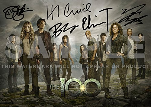 The 100 TV Show Print cast Eliza Taylor, Bob Morley, Marie Avgeropoulos, Devon Bostick, Henry Ian Cusick (11.7