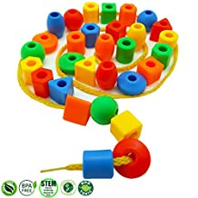 30 Jumbo Toddler Lacing & Stringing Beads with String & Tote - Montessori Preschool Fine Motor Skills Toys for Occupational Therapy and Autism OT