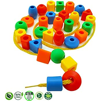 Skoolzy Preschool Large Lacing Beads for Kids - 30 Stringing Beads with 2 Strings Toddler Crafts with Travel Tote - Montessori Toys For Toddlers Occupational Therapy Fine Motor Skills Toys Autism OT