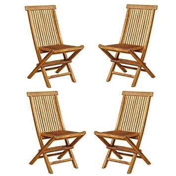 Garden and Co - Lote de 4 sillas de teca plegables para el ...