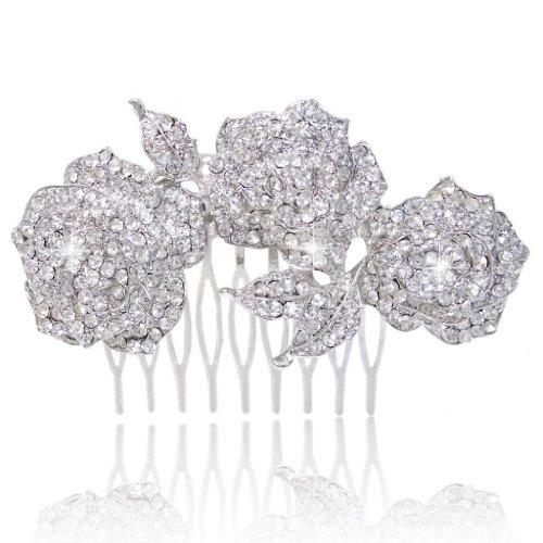 EVER FAITH Women's Austrian Crystal Wedding Elegant 3 Rose Flower Leaf Hair Comb Clear Silver-Tone (Wedding Roses Tone)