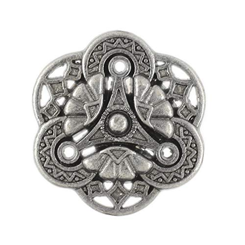 (Bezelry 12 Pieces Gothic Flower Art Gray Silver Metal Shank Buttons 18mm (11/16 inch))