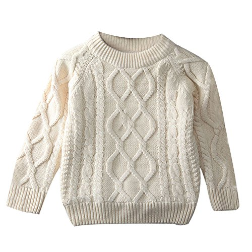 Toddler Baby Boy Girl Cable Knit Pullover Sweater Warm Sweatshirt white 100