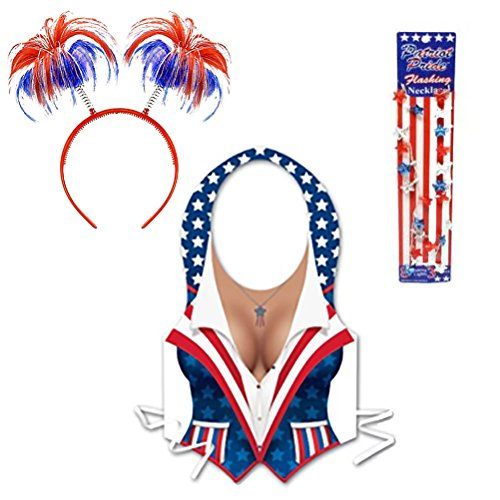 Olympic Games Themed Costumes (Patriotic Bopper Headband Party Accessory Costume Set Kit 4th of July Red White and Blue American Flag Stars & Stripes Themed Novelty Vest & Light Up Star Necklace)