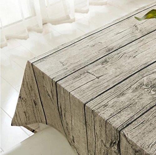 XUDOAI Vintage Rectangle Mantel de Lino de algodon, Wood Stripe Mantel de Mesa para el Restaurante del Hotel de casa Restaurante, Calor y Humedad Resistencia (100 * 140cm(39 * 55inch))