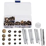 40 juegos de broche de presión kit de presión de botón prisionero botón a presión Popper de cierre Jeans de cuero Accesorios Base con caja (color bronce)