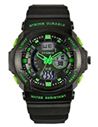 Water-resistant Unisex Digital Watch - 50M Waterproof Dual LED Display (Numeric + Analog) Watch / Fashion Night Vision Watch / Sports Wrist Watchs For Ourdoor Activities,Mountaineering And Swimming - Green