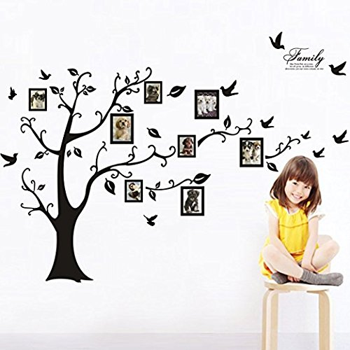 Large Family Tree Wall Decal. Peel & stick vinyl sheet, easy to install & apply history decor mural for home, bedroom stencil decoration. DIY Photo Gallery Frame Decor Sticker By LaceDecaL (Decal Wall Tree)