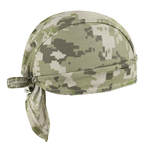 Sweat Wicking Skull Cap Beanie Quick Dry Bandana Hat Helmet Liner Sun UV Protection Head Wrap Breathable Headwear Adjustable Pirate Scarf Dew Rag for Riding Cycling Women Men (Desert camouflage)