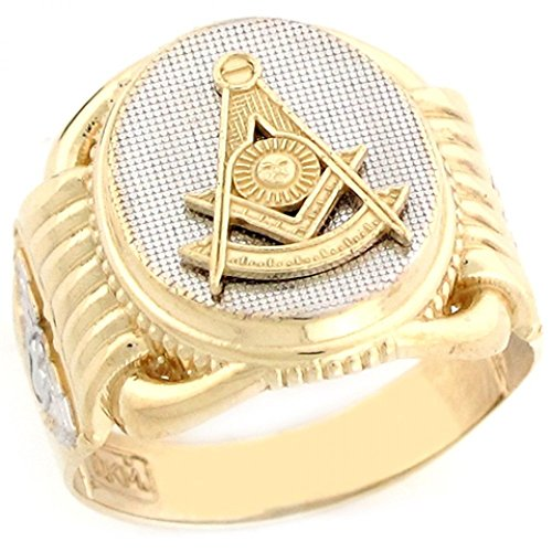 10k Two Tone Real Gold Past Master Freemason Masonic Oval Mans Ring