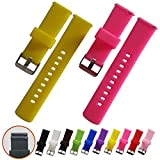 Quick Release Watch Bands - Soft Silicone Rubber - Smooth, soft, elastic slightly, 22mm 2 PCS (yellow,fuschia)