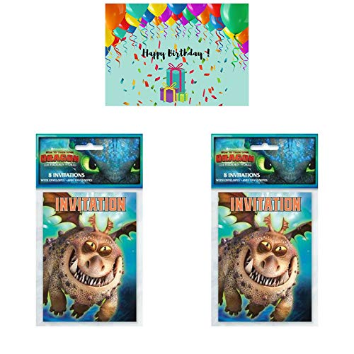 How to Train Your Dragon Birthday Party Invitations - 16 Cards Bundled with a Birthday Card by JPMD Party ()
