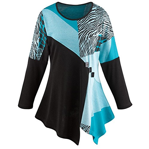 CATALOG CLASSICS Women's Tunic Top - Turquoise Regal Long Sleeve Blouse - 2X