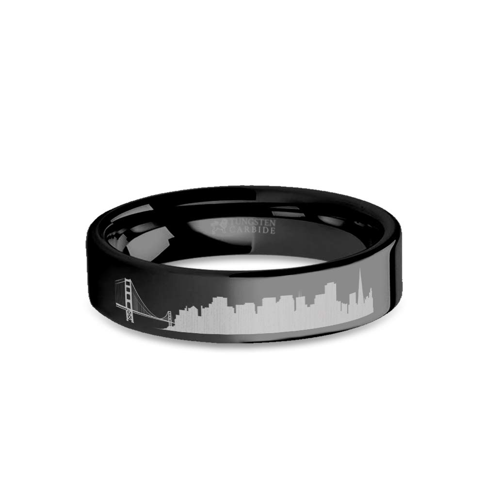 6 mm San Francisco City Skyline Cityscape Engraved Black Tungsten Ring