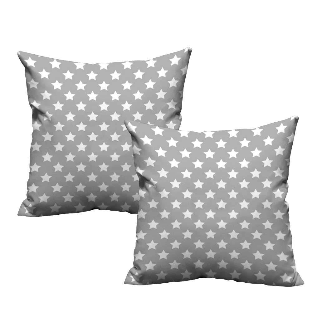 Plush Pillowcase Star,Big Stars Pattern Monochrome Artful Modern Baby Nursery Design Starry Night Themed,Grey White 20''x 20'' Wrinkle, Fade, Stain Resistant