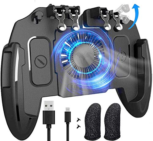 """Mobile Game Controller with Cooling Fan/Phone Holder/Finger Sleeves for PUBG/Fortnite/Call of Duty, Tomoda L1R1 Mobile Triggers for 4.7""""-6.5"""" iOS Android Phones"""