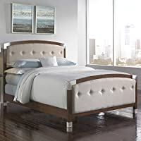 Genesis Complete Bed with Accented Wood Panels and Cream Button-Tuft Upholstery, Dark Walnut Finish, Queen